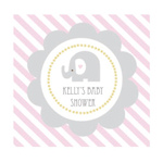 Pink Elephant Personalized Square Tags