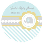 Blue Elephant Personalized Round Favor Stickers