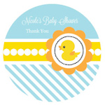 Rubber Ducky Personalized Round Favor Stickers