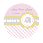 Pink Elephant Baby Shower Personalized Round Labels