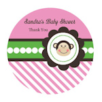 Pink Monkey Party Personalized Round Labels