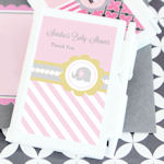 Pink Elephant Personalized Baby Shower Notebook Favors