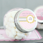 Personalized Pink Elephant Baby Shower Candy Favor Jars