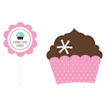 Cupcake Party Cupcake Wrappers & Cupcake Toppers (Set of 24)