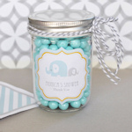Blue Elephant Personalized Mini Mason Favor Jars