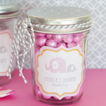 Pink Elephant Baby Shower Mason Jar Favors