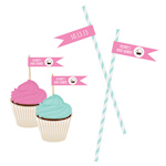 Cupcake Party Personalized Flag Labels