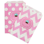 Cupcake Party Chevron & Dots Goodie Bags (Set of 12)