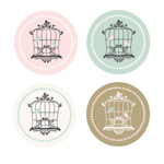 Birdcage Party Decorative Mini Stickers (Set of 32)