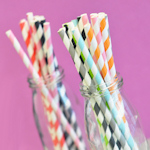 Baby Shower Striped Paper Straws (Set of 25)