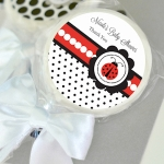 Personalized Ladybug Baby Shower Lollipop Favors