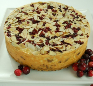 Cranberry Toasted Almond Cheesecake data-pin-no-hover=