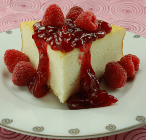 NY Cheesecake with Raspberry Topping data-pin-no-hover=