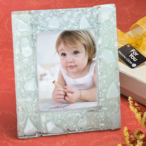 White Mosaic Frosted Glass Photo Frame imagerjs