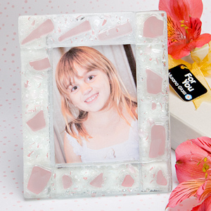 Pink Mosaic Frosted Glass Photo Frame imagerjs