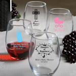 Personalized Stemless Wine Glasses - Baby Shower