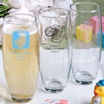 Silkscreened Baby Stemless Champagne Flutes