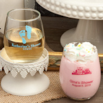 Custom Silkscreen Petite Stemless Wine Glass Favors (5.5 oz)