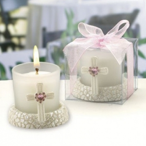 Glass Candle Holder with Pink Cross Base Design imagerjs