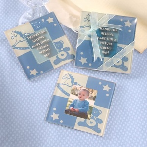 Blue Photo Coaster Baby Shower Favors imagerjs