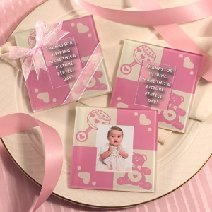 Pink Photo Coaster Baby Shower Favors imagerjs
