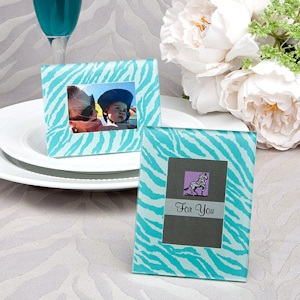 Aqua Blue Zebra Pattern Place Card Holder/Picture Frames imagerjs