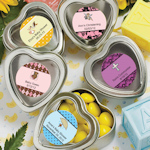 Personalized Heart Shaped Silver Baby Mint Tins