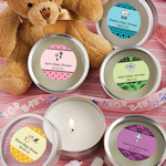 Personalized Round Travel Candles for Baby