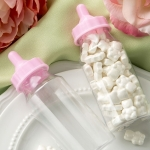Perfectly Plain Collection Clear and Pink Baby Bottle Favors
