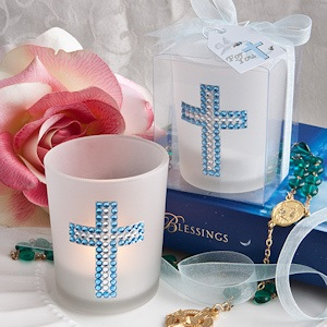 Bling Collection Blue Cross Candle Favors imagerjs