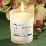 Personalized Christening Glass Candle Holder