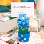 Blue Teddy Bear Pot Place Card/Photo Holder