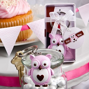 Little Pink Owl Keychain Favors imagerjs