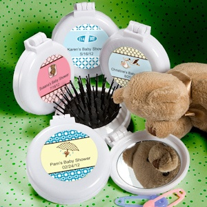 Personalized Brush/Mirror Compact Favors - Baby imagerjs