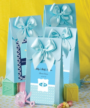 Blue Personalized Baby Gift Boxes with Bow imagerjs