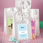 White Personalized Baby Gift Boxes with Bow