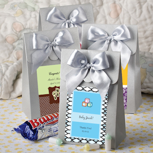 Personalized Silver Baby Shower Gift Boxes with Bow imagerjs