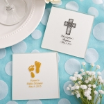 Silkscreened White Glass Coaster Baby Shower Favors