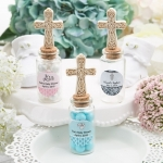 Ivory Cross Baptism Personalized Candy Jars