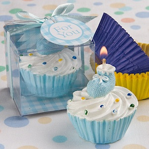 Blue Cupcake Candle with Baby Bootie imagerjs