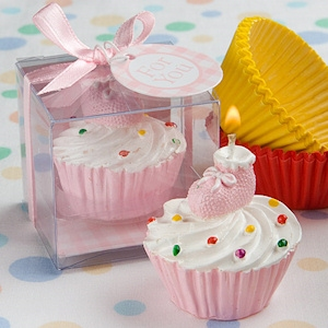 Pink Cupcake Candle with Baby Bootie imagerjs