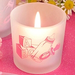 Pink Baby Themed Candle Favors