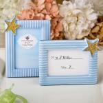 Blue and Gold Placecard Photo Frame Favors