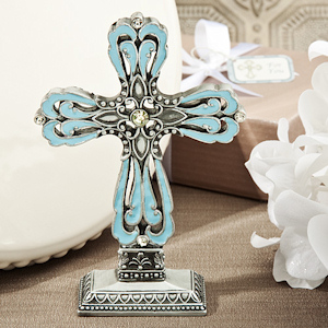 Striking Blue & Pewter Cross Statue imagerjs