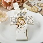Madonna and Child Hanging Cross Ornament Favor