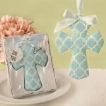 Blue Hampton Link Design Cross Ornament Favors