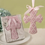 Pink Hampton Link Design Cross Ornament Favor