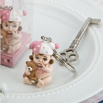 Vintage Baby Girl Key Ring Baby Shower Favor