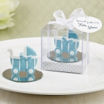 Blue Baby Carriage Favor with Round Glass Mirror Base
