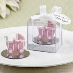 Pink Baby Carriage Favor with Round Glass Mirror Base